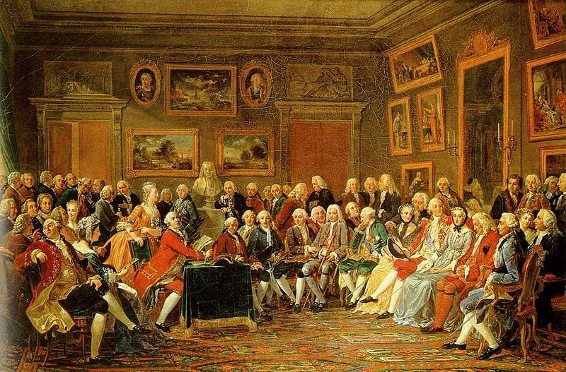 Gathering of distinguished guests in the drawing-room of French hostess Marie-Thérèse Rodet Geoffrin , by The picture shows a gathering of distinguished guests in the drawing-room of French hostess Marie-Thérèse Rodet Geoffrin (1699-1777) who is seated on the right. There is a bust of Voltaire in the background.