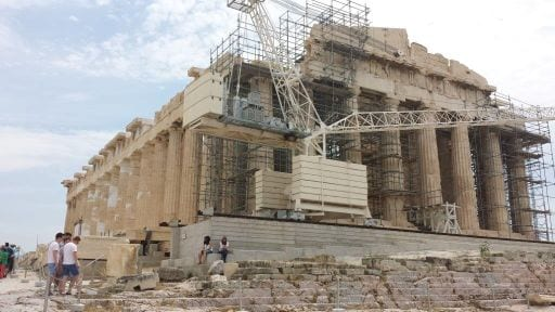 The Parthenon, symbol of Ancient Greece, Athenian democracy and western civilizationBuilt on top of the Acropolis above the ancient Agora (market and meeting place) in 447-438 BCE and dedicated to the goddess Athena.It replaced a former temple destroyed by the Persian invasian of 480 BCE