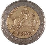 Two Euro coin with Europa and bull