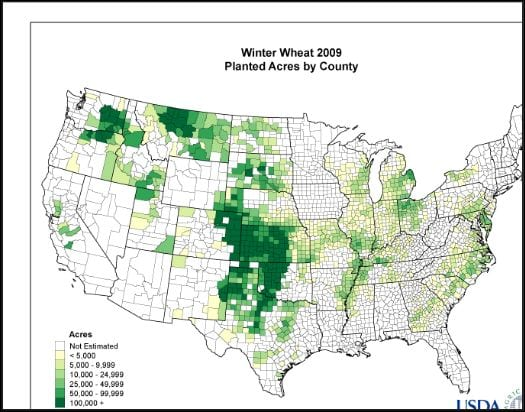 Map of wheat in USA